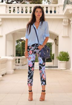 Florals Are Going To Be Spring Favorites!  Street wear fashion & outfit ideas. Floral print pants with pale blue shirt. 2014
