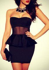 Bodycon Peplum Dress - Black