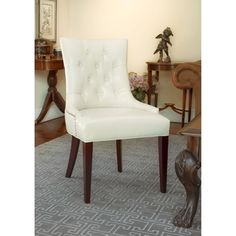 Safavieh Nimes Cream Leather Side Chair | Overstock™ Shopping - Great Deals on Safavieh Dining Chairs