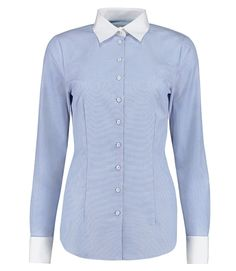 Women's White Fitted Fashion Shirt With Contrast - Double Collar ...