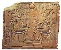 3-33 Akhenaton, Nefertiti, and three daughters - Amarna, Egypt - c. 1350 BCE - New Kingdom, Amarna Period