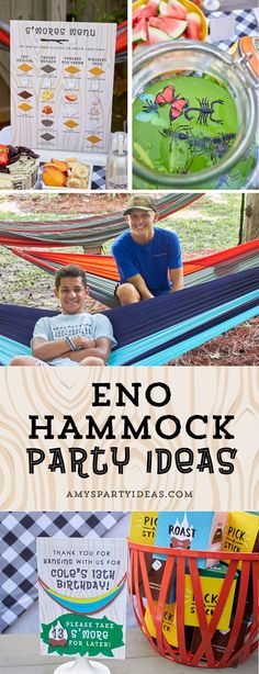 ENO Hammock Party Ideas from AmysPartyIdeas.com | Birthday Party Ideas for Tweens, Teens | Hang Out Party Ideas | Camping party ideas, portable s'mores, bug juice, s'mores menu, printable party supplies