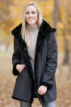 f6e591a89856a Amazon.com  Women s Cadence Reversible Sheared Mink Fur Coat