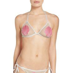 Women's The Bikini Lab Hot Shine Bling Bikini Top ($39) ❤ liked on Polyvore featuring swimwear, bikinis, bikini tops, tankini tops, seashell swim top, see through bikini, seashell bikini and wetlook bikini
