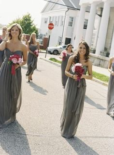 beautiful gray bridesmaids' dresses! Totally the wesding i want! Gray dresses and pink flowers(: