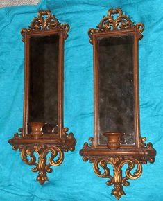 STUNNING Vintage BURWOOD Wall Mirror Sconces Candleholders fy Home Interior L@@K | eBay Copper Crafts, Home Interiors And Gifts, Candleholders, Wall Mirror, Candle Sconces, Home Interior Design, Maya, Wall Lights, Clock