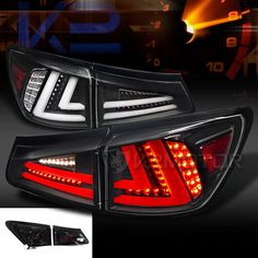 Lexus 2006-2008 IS250 IS350 JDM Black LED Rear Tail Brake Lights Pair #SpecD
