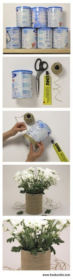 Discover thousands of images about DiY bote de leche infantil - Tutorial Forrado con cordel Upcycled tin can Home Crafts, Diy Home Decor, Diy And Crafts, Arts And Crafts, Craft Projects, Projects To Try, Diy Recycling, Creation Deco, Ideias Diy