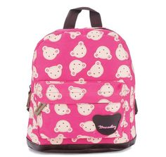 Moolecole Little Bear Printing Baby Canvas Backpack Kindergarten Boys Girls Travelling Bag Rose Red *** Continue to the product at the image link.