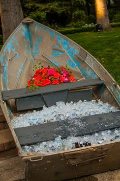 6771788c7284 Boat ice chest decor So Eventful  Wedding   Event Coordination  Boat  Wedding