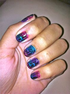 Simple nail design I came up with.  http://www.deavenmichelle.com/2011/05/diy-multicolored-shatter-nails.html