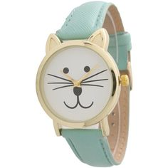 Olivia Pratt Tomcat Watch ($26) ❤ liked on Polyvore featuring jewelry, watches, mint, cat jewelry, cat watches, leather-strap watches, mint green jewelry and mint jewelry