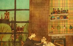 A Korean artist named Puuung is illustrating beautiful simple moments of love between a couple.
