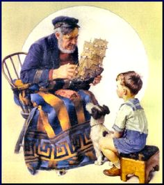 ✿Grandma & Grandpa✿ Sea Captain with Young Boy by Norman Rockwell