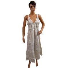 Womens White Embroidred Bohemian Front Open Button Cotton Dress (Apparel)