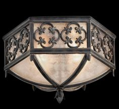Buy the Fine Art Lamps Marbella Wrought Iron Direct. Shop for the Fine Art Lamps Marbella Wrought Iron Costa del Sol Diameter Two-Light Outdoor Flush Mount Ceiling Fixture with Quatrefoil Details and Subtle Iridescent Textured Glass Shade and save. Outdoor Ceiling Lights, Outdoor Wall Lighting, Outdoor Walls, Ceiling Lighting, House Lighting, Wall Lights, Outdoor Flush Mounts, Outdoor Wall Sconce, Diane