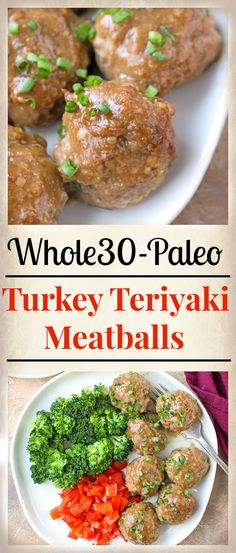 These Paleo Whole30 Turkey Teriyaki Meatballs are juicy, tender, and so delicious! Simple meatballs covered in an easy homemade sauce and baked to perfection. Gluten free, dairy free, low fodmap and sweetened only with a little fruit juice.