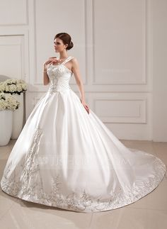 Ball-Gown Sweetheart Cathedral Train Embroidered Beading Sequins Zipper Up Regular Straps Sleeveless Church General Plus No Winter Ivory Satin Wedding Dress