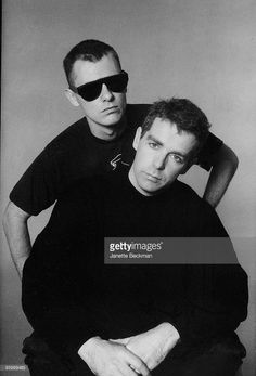 Portrait of British electronic and pop group the Pet Shop Boys, Neil Tennant (fore) and Chris Lowe (in sunglasses), New York, New York, 1985.