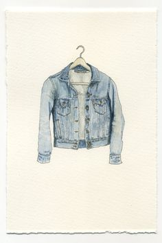"Mark Hall-Patch describes his small-scale watercolor paintings of threadbare band tees, letterman jackets, denim relics, and Cosby sweaters ""compulsory garments."" The tiny works are like a snapshot of your closet in the past, and will have you… Illustration Sketches, Watercolor Illustration, Watercolor Paintings, Illustration Fashion, Watercolours, Mark Hall, Nanu Nana, Poster Art, Mode Jeans"