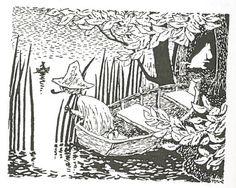 """""""Hän odotti hetken, mutta kun Nuuskamuikkunen ei sanonut sen enempää, hän kiipesi veneestä ja alkoi kulkea pitkin rantaa. Nuuskamuikkunen istuutui perätuhdolle ja karisti varovasti tuhkan piipustaan. Hän kumartui ja kurkisti puun oksien alta. Hemuli souti jatkuvasti avomerelle päin. Hänen veneensä erottui selvästi kuun vanaa vasten."""" Vaarallinen juhannus"""