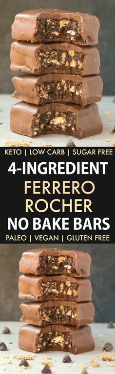 No Bake Ferrero Rocher Bars (Paleo Vegan Keto Sugar Free Gluten Free)-An easy recipe for chocolate hazelnut no bake bars using just 4 ingredients! Easy delicious low carb ketogenic dessert bars which take less than 5 minutes to whip up! Ketogenic Desserts, Low Carb Desserts, Low Carb Recipes, Cooking Recipes, Free Recipes, Flourless Desserts, Paleo Dessert, Dessert Recipes, Dessert Bars