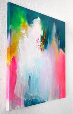 Original fine art abstract painting, modern art, acrylic painting, colorful…