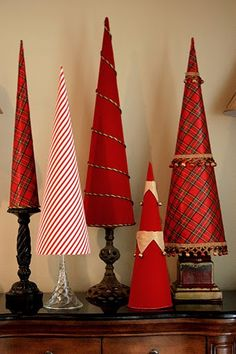 DIY Christmas Tree Cones - Fabric Covered Poster Board Tree Cones Part – The Creativity ExchangeThe Creativity Exchange - Cone Christmas Trees, Noel Christmas, All Things Christmas, Winter Christmas, Christmas Ornaments, Cone Trees, Cheap Christmas, Fabric Christmas Trees, Christmas Tree Crafts