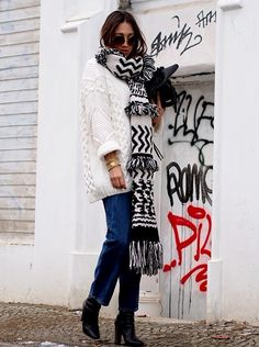 Blogger Style l Hello Shopping: oversized ribbon knit x aztec- print scarf x cropped denim jeans x boots