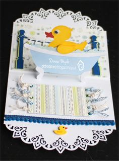 Donna Wright using the Pop it Ups Bathtub Pop Stand, Lots of Pops (poles), and Paris Edges dies by Karen Burniston for Elizabeth Craft Designs. Also uses the ECD Ducky die. - Old Red Shed: Karen Burniston CHA bathtub duckie...