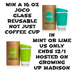 Win a 16oz JOCO Cup in Mint or Lime and help save the environment. US - Ends 12/1