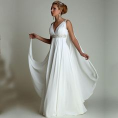5b70e18f72f5 Discount Greek Style Summer Beach Wedding Dresses 2016 V Neck Pleats Draped  Chiffon Floor Long Cheap Bridal Gowns Plus Size Maternity Wedding Gowns  Cheap ...