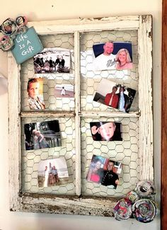 Family Keepsake Photo Window  I have lots of old windows i could     DIY Barn Window Picture Display DIY Home Decor Crafts     cute to  de clutter the fridge of cards and pictures