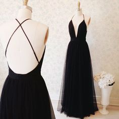 Custom Made Black A-line Deep V-neck Cross Back Floor Length Evening Dress Bridesmaid Dress Graduation Dress