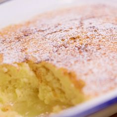 Lemon self-saucing pudding, also known as lemon surprise pudding, is easy to whip up and can be ready in an hour. Make one simple mixture and as it cooks it separates into a light sponge on top and zesty lemon curd beneath Sponge Pudding Recipe, Lemon Pudding Recipes, Lemon Pudding Cake, Lemon Recipes, Sweet Recipes, Simple Pudding Recipes, Lemon Curd Cake, Lemon Sponge Cake, Lemon And Coconut Cake