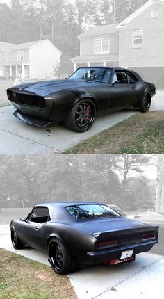 Camaro in matte black.