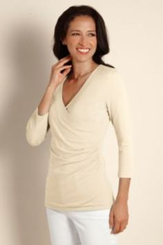 3/4 Sleeve Shapely Surplice Top - Figure Flattering Top With Surplice Styling, Tops | Soft Surroundings