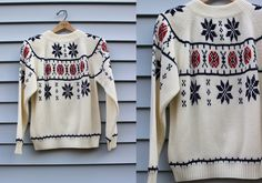 Vintage Vtg Vg JcPenney's 1970's Nordic Alpine Ski Apres Ski Festive Holiday Sweater Acrylic Unisex Adults Size Medium Retro Hipster Winter by foxandfawns on Etsy