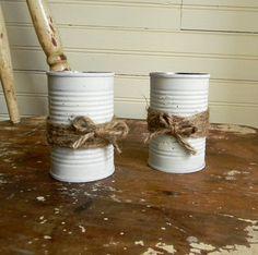 Shabby Chic Rustic Wedding Decor Flower Vases by CarolinaVintageCo