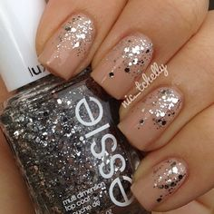 Nude glitter nails