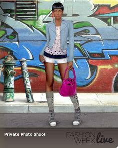 Have you checked out Fashion Week Live's explore feature? You can see how other players are styling their models and rate them! Here is a favorite from one of our fashion fans.  Model is wearing:  Mini Shorts, Ice White Polka Dot Top with Collaret, Bogar Socks, Raspberry Leather Drawstring Bag and Parsival Cserer Earrings.
