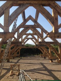 Hammer Beam construction. Erected roof outside in order to pitch Diamond hips..