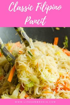 Classic Filipino Pancit Recipe with Pork - Life's Ambrosia Pork Recipes, Lunch Recipes, Dinner Recipes, Cooking Recipes, Easy Recipes, Vegetarian Recipes, Filipino Recipes, Asian Recipes, Filipino Food