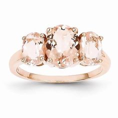 NEW 14K ROSE GOLD RING 3 OVAL CUT 3.15 CT TW GENUINE PINK MORGANITE 2.7g SIZE 7 in Jewelry & Watches, Fine Jewelry, Fine Rings, Gemstone | eBay
