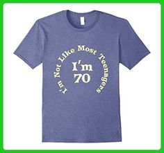 Mens Funny 70th Birthday 70 Years Old Shirt I'm Not Like Teenager 2XL Heather Blue - Birthday shirts (*Amazon Partner-Link)
