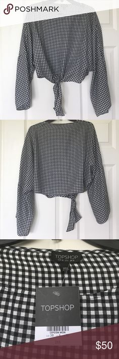 Topshop Tie Front Gingham Top Brand new with tags gingham top with flare sleeves from Topshop. Topshop Tops Blouses