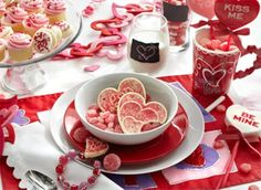 Kid's valentine meal table setting