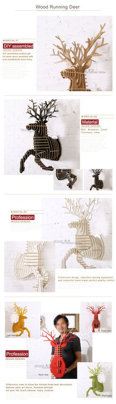 iWood Running Deer wall animal head wall sculpture, iWood Product Details from Guangzhou iWood Crafts Co., Limited on Alibaba.com