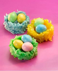Spring themed coconut and marshmallow nests make the perfect Easter treat. Ingredients available at Walmart.