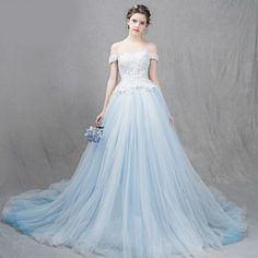 Ivory White Aqua Blue Lace Mermaid Formal Wedding Bridal Ball Gown Dress SKU-119029